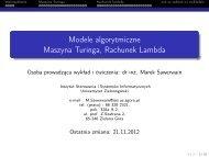 Wykład 5 - Instytut Sterowania i Systemów Informatycznych ...