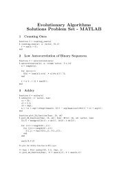 Evolutionary Algorithms Solutions Problem Set - MATLAB
