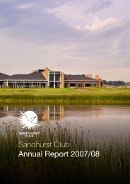 Sandhurst Club Annual Report 2007/08