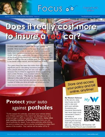 Does it really cost more to insure a red car?  Western National