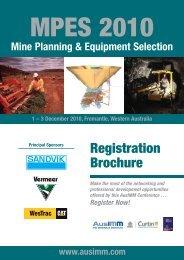 Mine Planning & Equipment Selection 2010 - Australasian Institute ...