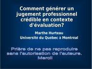 Comment générer un jugement professionnel crédible en contexte d ...