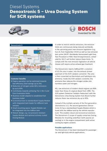 Denoxtronic 5 – Urea Dosing System for SCR systems - Bosch ...