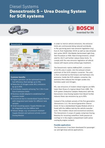 Denoxtronic 5 – Urea Dosing System for SCR systems - Bosch ...