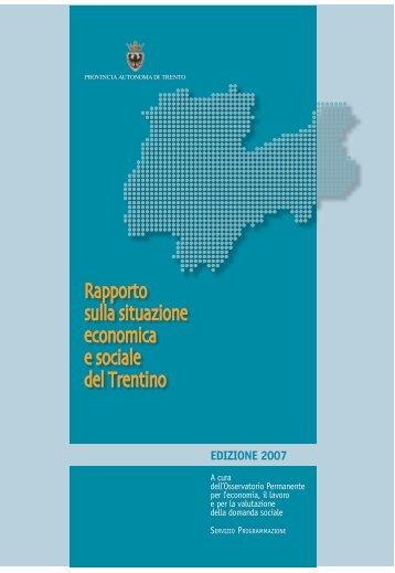 Rapporto sulla situazione economica e sociale del Trentino - Giunta