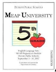 MEAP UNIVERsITY - myDPS - Detroit Public Schools