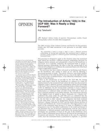 The Introduction of Article 12(b) in the UCP 600