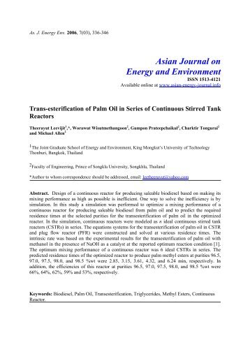 Trans-esterification of palm oil in a series of continuous stirred tank ...