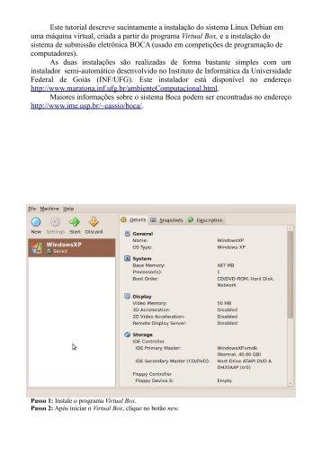 BOCA em Máquina Virtual - Instituto de Informática - UFG