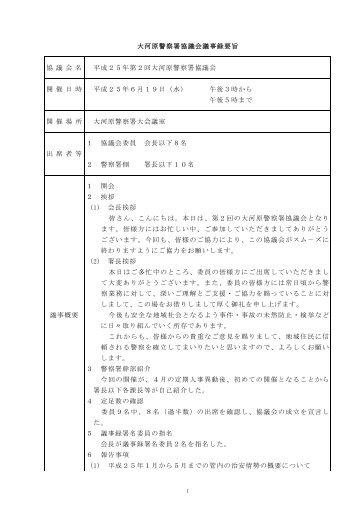議事録詳細はこちら - 宮城県警察