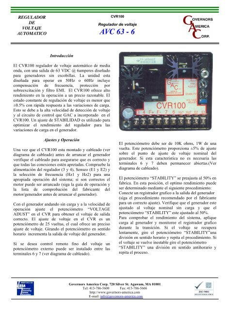 AVR GAC MODEL:CVR100 - grupoidimex.com.mx