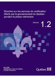 Directive sur les services de certification offerts par le gouvernement ...