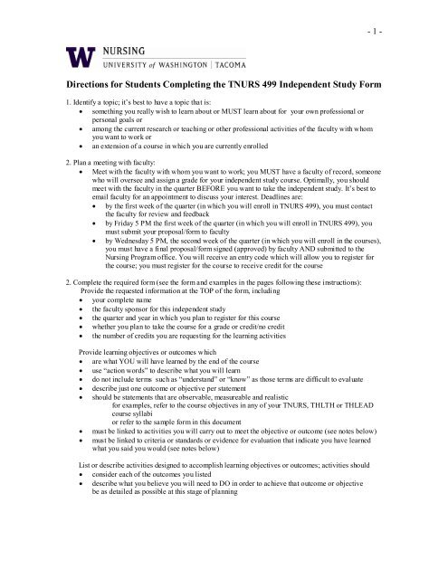 T Nurs 499 Independent Study Instructions Sample And Form