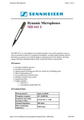 Dynamic Microphones MD 441 U