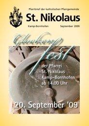 Pfarrbrief Glockenfest 2009 - St. Nikolaus Kamp-Bornhofen