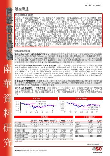 大大市市回回顧顧及及展展望望焦焦點點新新聞聞評 ... - 南華互動金融網