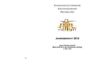 jahresbericht 2012 - johannesgemeinde.org.za
