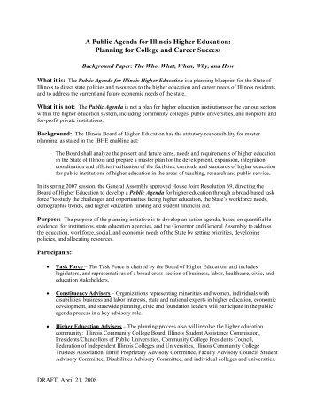 Public Agenda Background Paper - IBHE