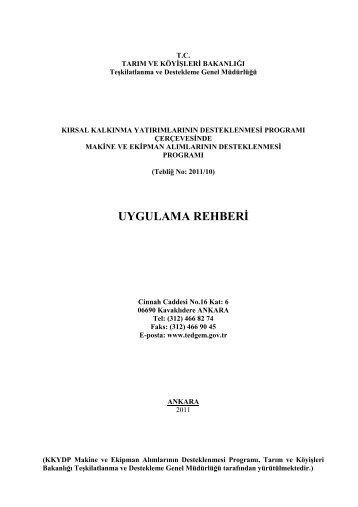 Uygulama Rehberi (III. Etap) - tc kayseri valiliği il gıda tarım ve ...