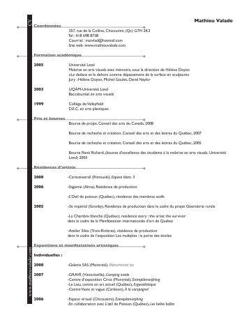 Curriculum Vitae - La Chambre Blanche
