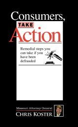 Consumers, Take Action publication - Missouri Attorney General