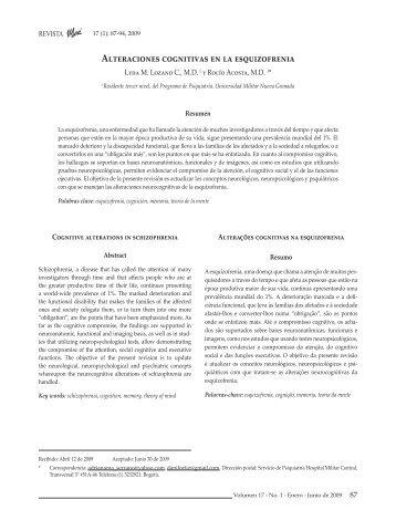 Alteraciones cognitivas en la esquizofrenia