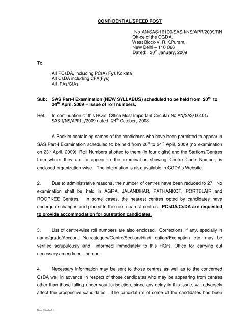 CONFIDENTIAL/SPEED POST No AN/SAS/16100/SAS-I/NS/APR