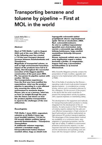 Transporting benzene and toluene by pipeline – First at MOL in the ...