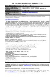 Host Organisation seeking Grundtvig Assistant 2011 – 2012 Belfast ...