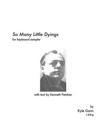 So Many Little Dyings - Kyle Gann