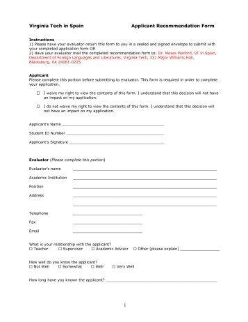 Teacher evaluation form - Virginia Tech
