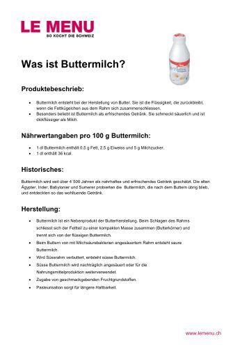 Facts rund um Buttermilch zum Ausdrucken (PDF - Le Menu
