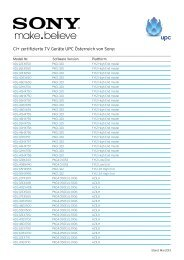 CI+ zertifizierte TV Geräte UPC Österreich von Sony: