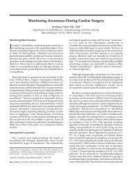 Monitoring Awareness During Cardiac Surgery REVIEW ARTICLE