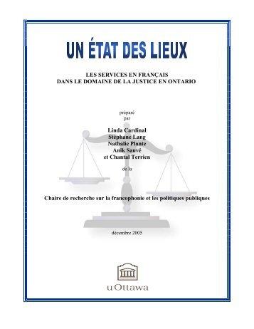 Les services en français et le domaine de la justice en Ontario