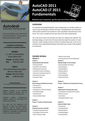 AutoCAD 2011 AutoCAD LT 2011 Fundamentals - Cadgroup
