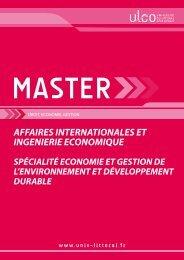 Plaquette de présentation du master - Université du Littoral-Côte-d ...