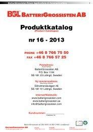 Produktkatalogen Nr. 16-2013 - BatteriGrossisten