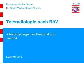 Teleradiologie nach RöV - Anforderungen an Personal und Technik