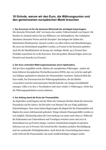 10 Gründe, warum wir den Euro, die Währungsunion und den ...