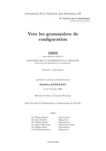 Vers les grammaires de configuration - Laurent Henocque