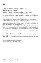 Fernand Hörner, Oliver Kautny (Hg.) Die Stimme im Hiphop ...