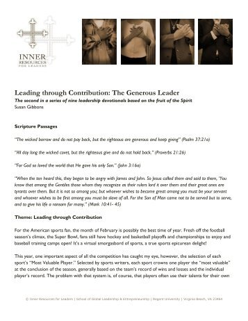 The Generous Leader - Regent University
