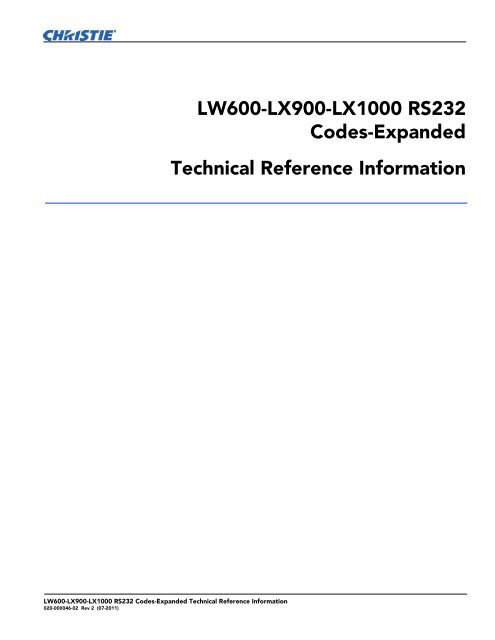 Christie LW600 Serial Communications Protocol-Expanded