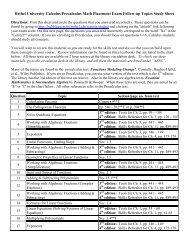 Bethel University Calculus/Precalculus Math Placement Exam ...