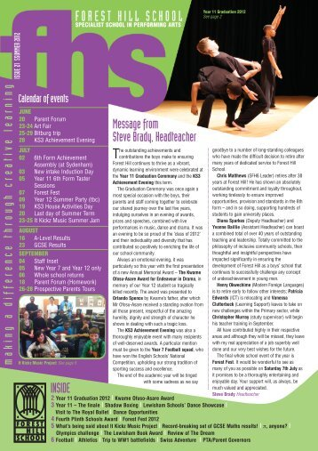 FHS Newsletter Summer 2012 - Forest Hill School