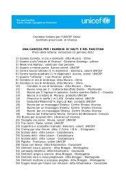 Lista dei premi della lotteria - Unicef