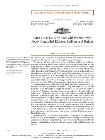 Case 17-2013: A 56-Year-Old Woman with Poorly Controlled ...