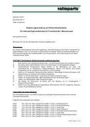 Bedienungsanleitung und Sicherheitshinweise für ... - ratioparts