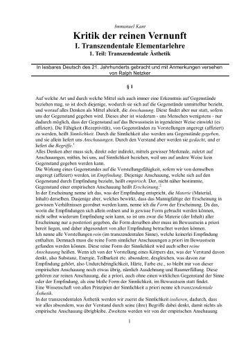 kritik der reinen vernunft pdf